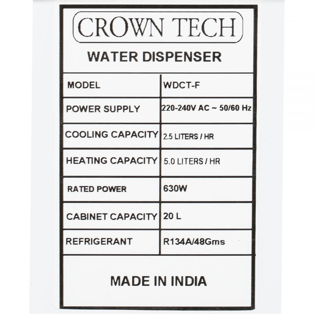 Crown Tech 3 Tap Water Dispenser With Freezer White
